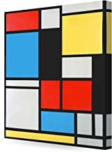 DECORARTS - Ater Piet Mondrian Composition in Blue, red and Yellow Lithograph in Colours. Giclee Canvas Prints Wall Art for Home Decor 24x30 x1.5