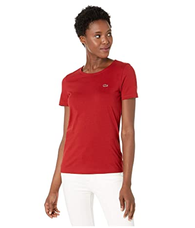 Lacoste Short Sleeve Classic Supple Jersey Crew Neck T-Shirt (Alizarin) Women