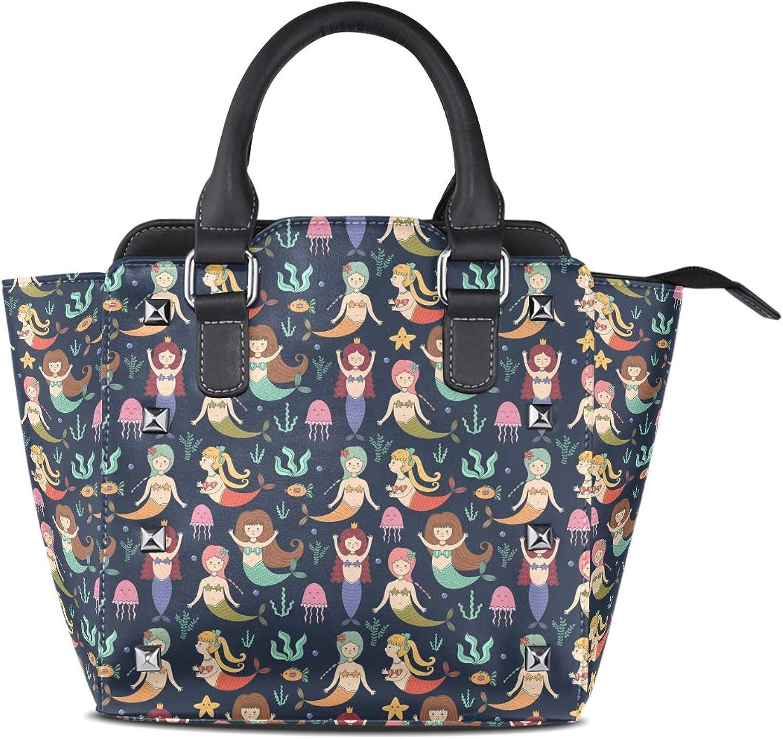 Leather Cute Mermaid Sealife Rivet Handbags Tote Bag Shoulder Satchel for Women Girls