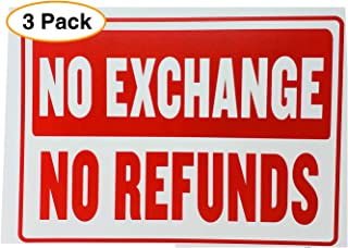 """NO Refund NO Exchange Business Sign Retail Store Policy Sign Red & White 12"""" x 9"""" (3 Pack)"""