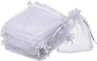 homiki 100 Stück Organzabeutel Säckchen für Geschenke, rechteckig, für Hochzeit und Schmuck, Weiß
