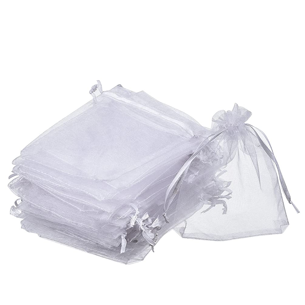 Dealglad 50pcs Drawstring Organza Jewelry Candy Pouch Christmas Wedding Party Favor Gift Bags (8x12, White)