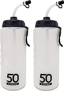 1 Liter Sports Water Bottle W/Straw 2 Pack - Easy Squeeze + Built in Finger Grip & Carry Loop - BPA Free Plastic - Use W/Sport Helmet in Football & Hockey - (Clear/Black,  2 Pack)
