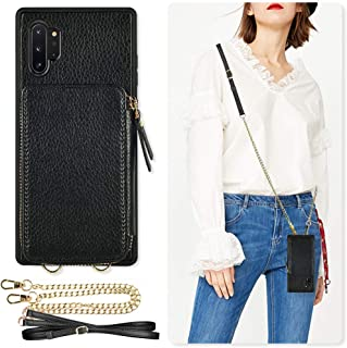 Samsung Galaxy Note10 Plus Wallet Case, ZVE Case with Crossbody Chain Strap Credit Card Holder Zipper Handbag Purse Wrist Strap Print Cover for Galaxy Note 10 Plus 5G (2019), 6.8 inch - Black