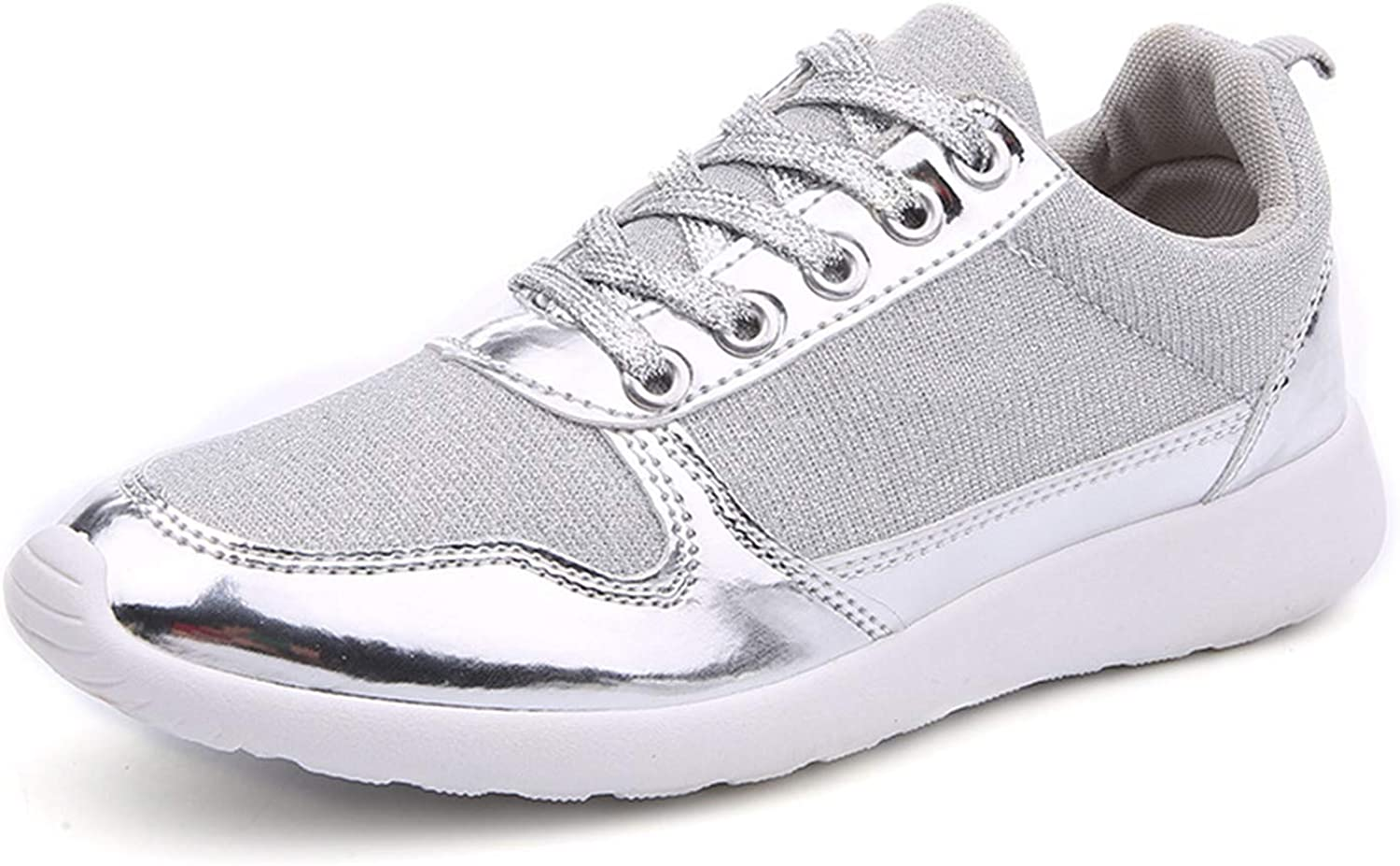 HarMQ Fashion Femme Rubber Women Casual shoes gold Silver Mesh Woman Breathable Casual shoes Silver Sneakers 6.5