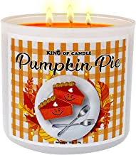 Pumpkin Pie Candle - Highly Scented Large 18 Ounce 3-Wick Pumpkin Soy Candle - Triple Scented Fall Candle