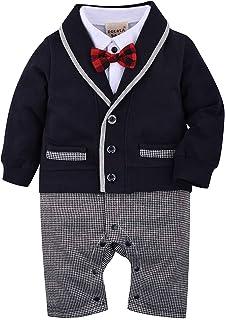 ZOEREA 1 TLG Baby Strampler Smoking für Jungen Kleinkind Kleidung Rompers Body Kleidung Gentleman Gesamt Baumwolle Langarm Bowknot Plaid Streifen Drucken Baby Taufe Hochzeit Weihnachten 0-18M