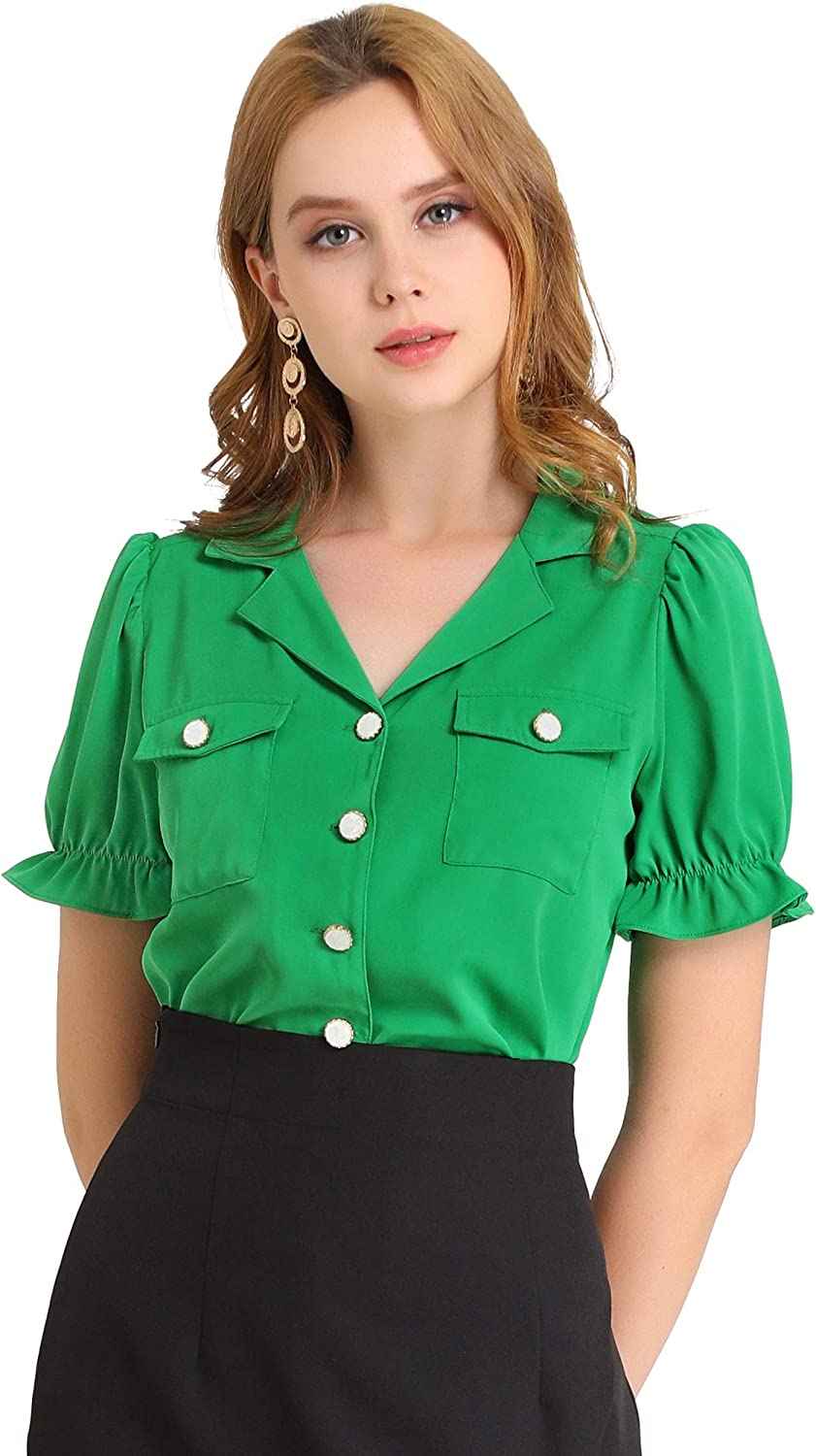 1950s Style Clothing & Fashion Allegra K Womens Casual Office Shirt Notched Lapel Button Front Puff Sleeve Vintage Blouse  AT vintagedancer.com