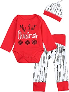 3PCS Baby Boys Girls My First Chirstmas Snowflake Arrow Print Romper
