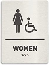 Women Restroom Identification Sign - Wheelchair Accessible, ADA Compliant Bathroom Sign, Raised Icons, Raised Braille, Brushed Aluminum, TCO Inspection Certified (6