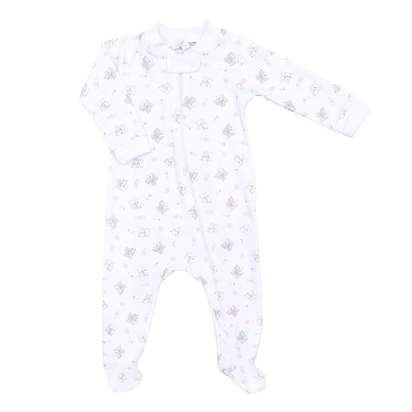 Magnolia Baby Baby Girl Purrfectly Sweet Printed Zipped Footie Pink