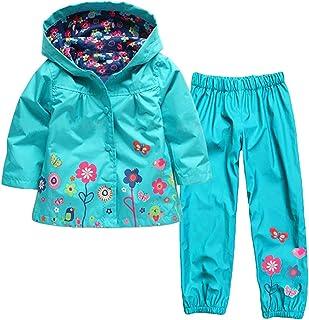 PAPA KIDS キッズコート 子供 ジャケット カッパ レイン男の子 児童 女の子 レインコート フード付きレインスーツ 上下セット レインパンツ