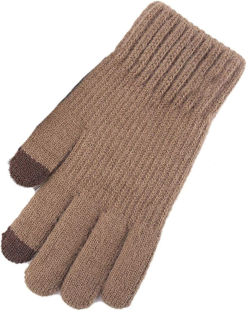 Touch Screen Knitted Gloves Men Women Thicken Wool Mitten Outdoors Anti-Slip Warmer Couple Gloves Solid Stripe coffee
