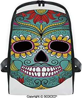 SCOCICI 3D Digital Printed Backpack Folk Art Elements Featured Skull Day of the Dead Celebration Concept Decorative Cute Outdoor Daypack