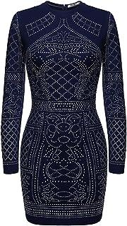 فساتين مزينة بحجر الراين للنساء بأكمام طويلة نحيفة فستان كوكتيل كلاسيكي أزرق داكن