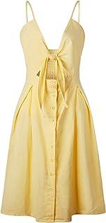 7TECH Sexy Halter Button Halter Bow Dress, Yellow