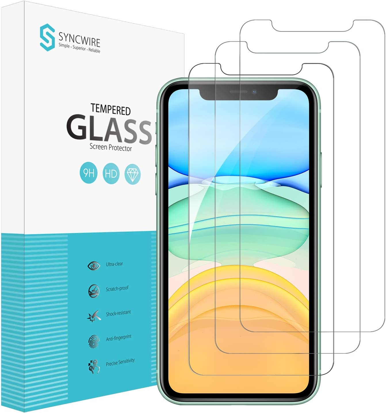 Syncwire Screen Chicago Mall Protector for iPhone Ant 3-Pack 11 Super special price XR