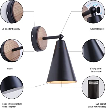MWZ Rustic Farmhouse Black Metal and Wood Wall Sconce Adjustable Lamp,2 Pack ,Rustic Wall Lighting Fixture for Bedroom, Livin