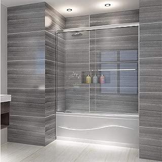 ELEGANT Semi-Frameless Bypass Double Sliding Tub Shower Door, 60 in. W x 62 in. H Bathtub Sliding Door, 1/4 inch Clear Glass Panel, 1.5 in. Width Adjustment, Chrome Finish