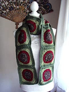 Long Red and Green Scarf Handmade Crochet Granny Square Circle Motif Olive Maroon
