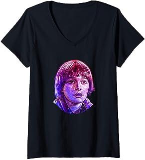 Femme Stranger Things Will Rose Tone Portrait T-Shirt avec Col en V