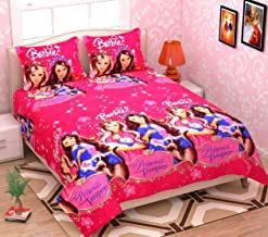 HFI Beautiful Kids Cotton Double Bedsheet with 2 Pillow Covers - Pink