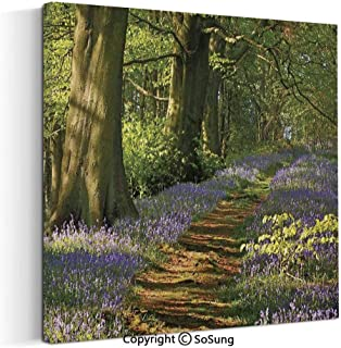 Canvas Prints Oil Painting A Carpet of Bluebells Spreads Through The Woodland in Staffordshire England Wall Art for Living Room Decoration (18 x 18 inch, Framed) Green Purple Brown