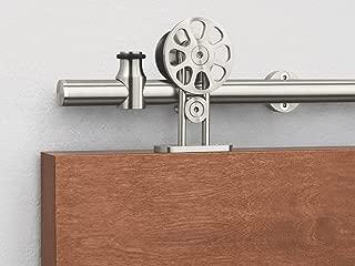 KINMADE Fortune Stainless Steel Sliding Barn Door Hardware Kit 6.6FT (2000mm) Track Single Door Kit