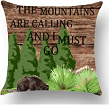GOOESING Words The Mountains are Calling I Must Go Quote Bear Trees Brown Wood Background Pillow Case/Pillow Cover 50% Cotton & 50% Polyester Size 16x16 Inches