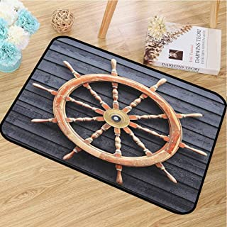 "Lightweight door mat Ships Wheel Decor Collection For bathroom Old Trawler Steering Wheel Captain Direction Control on Hardwood Timber Wall W35""x L47"" Charcoal Camel"