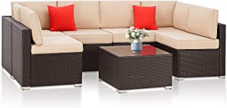 SUNCROWN Outdoor Patio Furniture 7-Piece Wicker Sofa Set, Washable Seat Cushions with YKK Zippers and Modern Glass Coffee ...