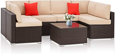 SUNCROWN Outdoor Patio Furniture 7-Piece Wicker Sofa Set, Washable Seat Cushions with YKK Zippers and Modern Glass Coffee Tab
