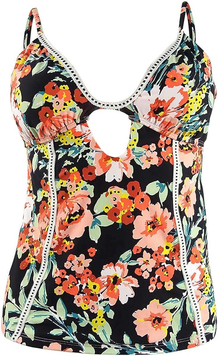 Lucky Brand Women's Junior Keyhole Front Tankini Swimsuit Top Swimwear, Black//Wild Flower, Large
