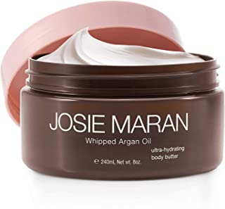 Josie Maran Whipped Argan Oil Body Butter - Immediate, Lightweight, and Long-Lasting Nourishment to Soften and Hydrate Skin (240ml/8.0oz, Juicy Mango)