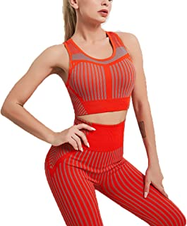 Women's Seamless Yoga wear Two-Piece Hip-Lifting Tight-Fitting Fitness Clothing Suit Bra Running Sports Vest Suit L Orange