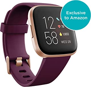 Fitbit Versa 2 Health & Fitness Smartwatch with Heart Rate, Music, Alexa Built-in, Sleep & Swim Tracking-Bordeaux/Coppper Rose