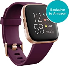 Fitbit Versa 2 Health and Fitness Smartwatch with Heart Rate, Music, Alexa Built-In, Sleep and Swim Tracking, Bordeaux/Copper Rose, One Size (S and L Bands Included) photo