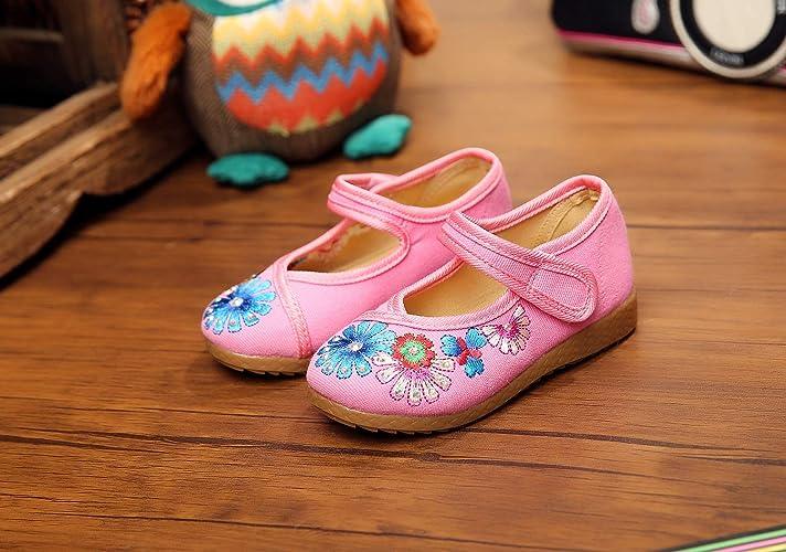 ZHANG22 Chaussures de Danse pour Enfants Forage Chaud Beijing Vieux Chaussures de Broderie Chaussures Tendon Fond Mou Broderie Style Ethnique, 16