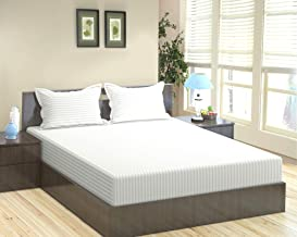 """Trance Home Linen 400TC Cotton Satin Stripe Bedsheet with 2 Pillow Covers (King Size 110"""" x 110""""_White)"""