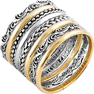 Paz Creations 925 Sterling Silver 8 Pcs Bohemian Stacking Rings Set for Women