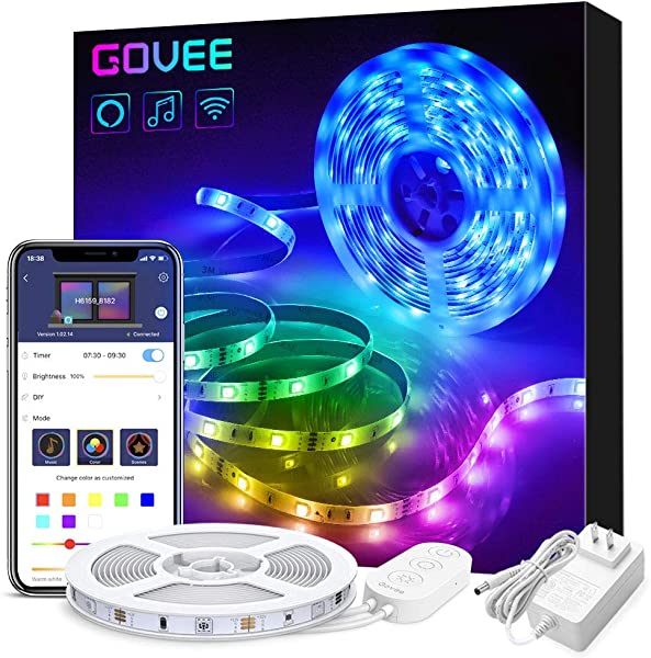 Govee Smart WiFi LED Strip Lights Works With Alexa Google Home Brighter 5050 LED 16 Million Colors Phone App Controlled Music Light Strip For Home Kitchen TV Party For IOS And Android 16 4ft