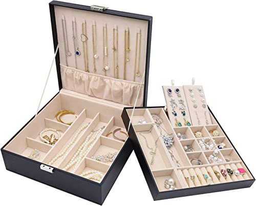 Procase Boîte à Bijoux Rigide en Cuir, Rangement à Double Couche, 32 Compartiments Grande Capacité, sans Perdre ou Ab...