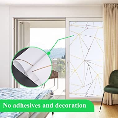 Coavas Privacy Window Film Decorative Stained Glass Window Clings Sun UV Blocking Bathroom Door Stickers Non Adhesive Frosted