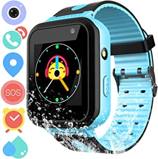 Kids Waterproof Smartwatch Phone - Touchscreen Smart Watch LBS Locator with Dial Camera Voice Chat SOS Flashlight Alarm Clock Game Wristwatch Boys Girls Birthday Gift Compatible with iOS Android,Blue