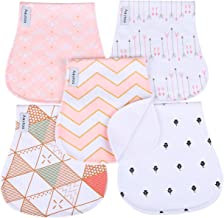 Baby Burp Cloths for Girls 5 Pack Burp Cloths Towel Burping Rags for Babies Newborns Baby Shower 100% Super Absorbent Organic Cotton Soft Triple Layer