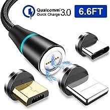 RAVIAD Cable USB Magnético, 2M Nylon Multi Cargador Magnetico Micro USB Tipo C Carga y Sincronización Cable Cargador iman Compatible con Android Galaxy, Huawei, Honor, LG, Kindle