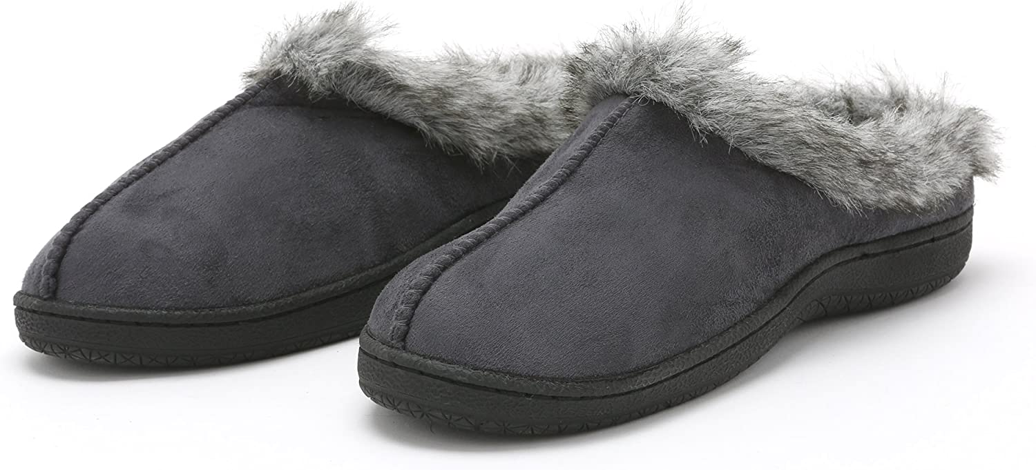Pembrook Ladies Faux Suede and Fur Slippers - Comfortable Memory Foam Indoor and Outdoor Non-Skid Sole