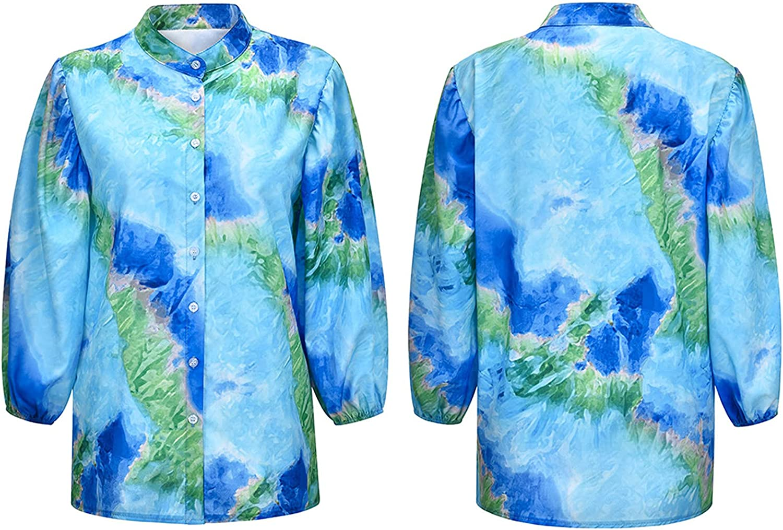 Andongnywell Womens Tie dye Printed Blouses V Neck Long Sleeve Button Down Tops Chiffon Shirts Tunic