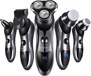 Electric Razor for Men 5 in 1 Rotary Shavers Beard Trimmer Nose Hair Trimmer Wet and Dry Electric Shavers Men