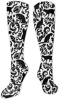 MISS-YAN, Calcetines para hombre y mujer, diseño de gato, color negro y blanco